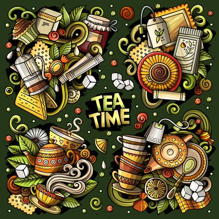 Colorful vector hand drawn doodles cartoon set of Tea combinations of objects and elements. All items are separate