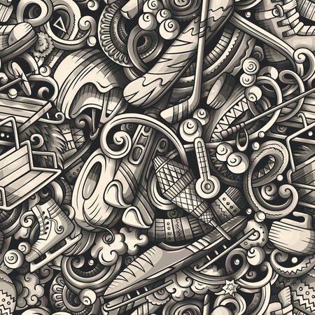 Winter sports hand drawn doodles seamless pattern. Ski resort background. Cartoon cold season outdoor activities print design. Toned vector illustrations