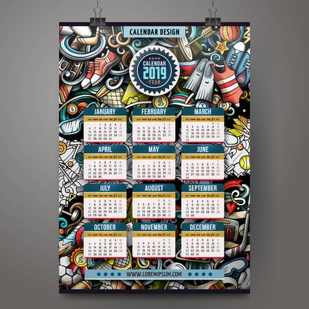 Cartoon colorful hand drawn doodles Sports 2019 year calendar template.