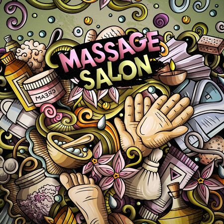 Massage hand drawn vector doodles illustration. Spa salone frame card design. Beauty elements and objects cartoon background. Bright colors funny border. All items are separated