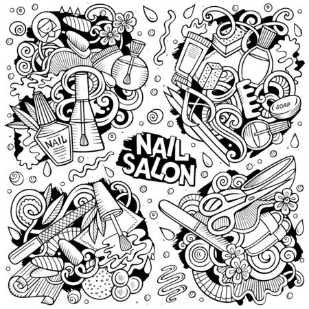 Line art vector hand drawn doodles cartoon set of Nail Salon combinations of objects and elements. All items are separate