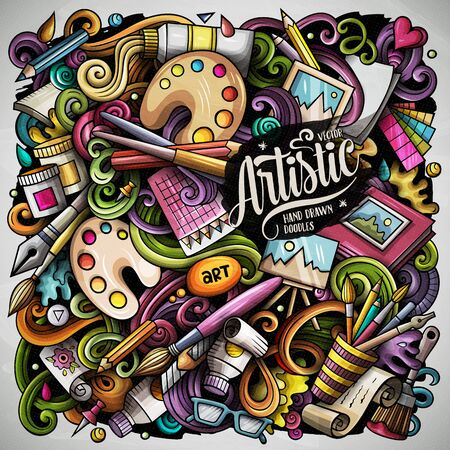 Cartoon vector doodles Art and Design illustration. Colorful, detailed, with lots of objects background. All objects separate. Bright colors artistic funny picture Ilustração