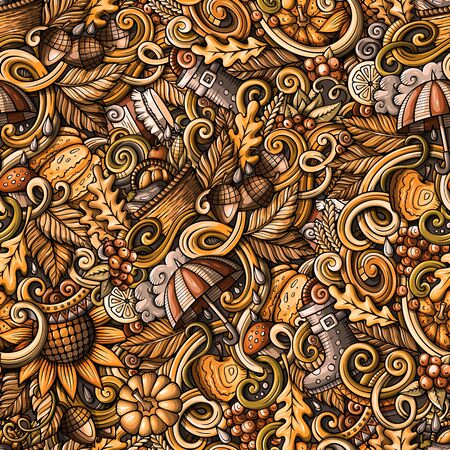 Cartoon hand-drawn doodles on the subject of Autumn theme seamless pattern