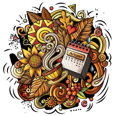 Cartoon cute doodles hand drawn Autumn illustration Stock Photo