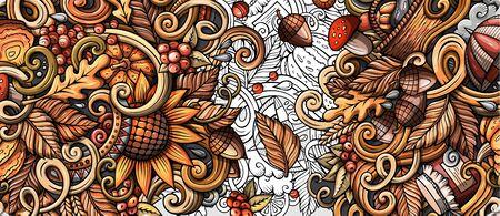 Cartoon cute colorful hand drawn doodles Fall season banner