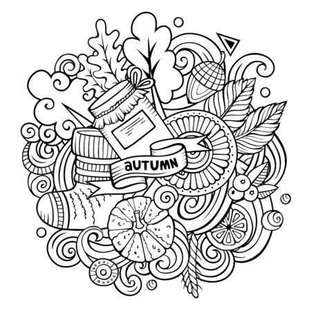 Cartoon doodles Autumn illustration. Line art background