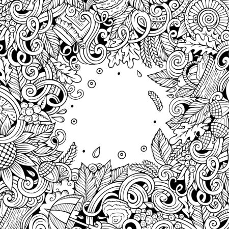 Cartoon cute doodles hand drawn Autumn frame design Stockfoto - 128569703