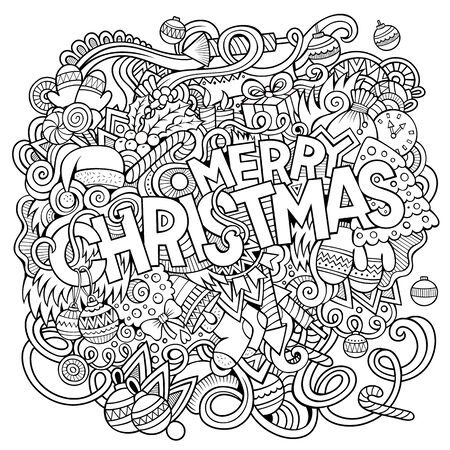 Merry Christmas hand drawn doodles illustration. New Year design