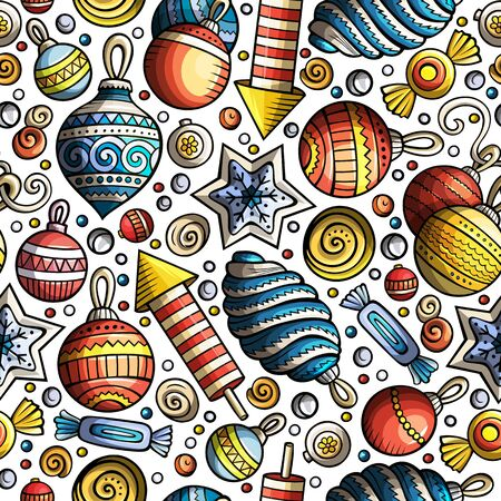 Cartoon cute hand drawn Xmass seamless pattern