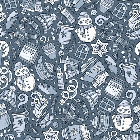 Cartoon cute hand drawn Winter season seamless pattern