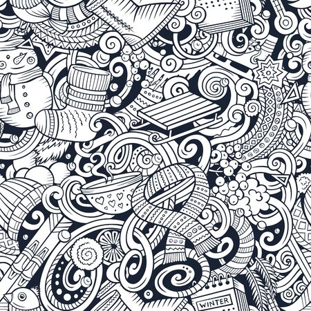 Cartoon doodles Winter season seamless pattern. Endless illustration. Reklamní fotografie - 128569829