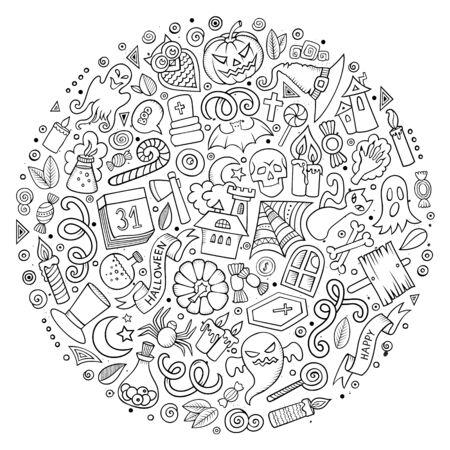 Set of Halloween cartoon objects, symbols and items