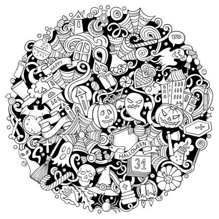 Cartoon cute doodles Happy Halloween illustration. Outline funny round picture