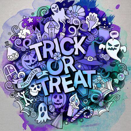 Cartoon cute doodles Trick or treat inscription