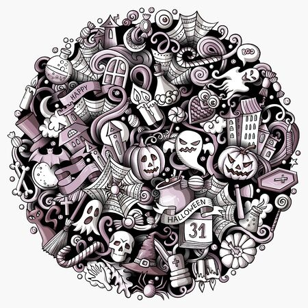 Cartoon doodles Happy Halloween illustration. Bright colors funny round picture
