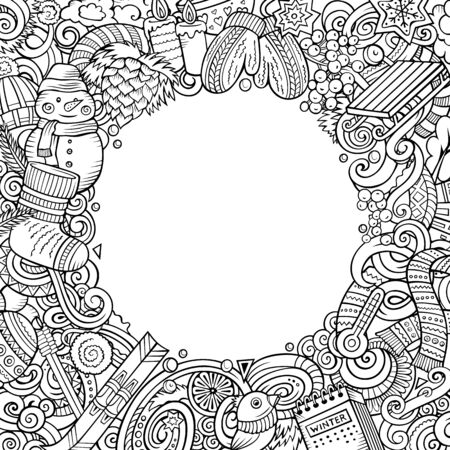 Cartoon doodles Winter square frame design. Contour drawing seasonal border