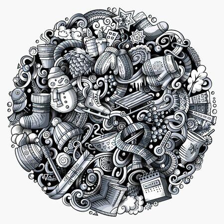 Cartoon doodles Winter illustration. Cold season funny round picture Banco de Imagens