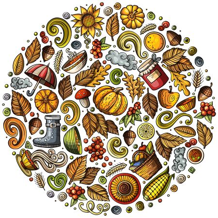 Autumn cartoon doodle objects, symbols and items Zdjęcie Seryjne