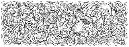 2020 hand drawn doodles horizontal illustration. New Year objects and elements poster design. Creative cartoon holidays art background. Line art drawing