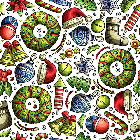 Cartoon cute hand drawn Xmass seamless pattern. Colorful with lots of objects background. Endless funny illustration