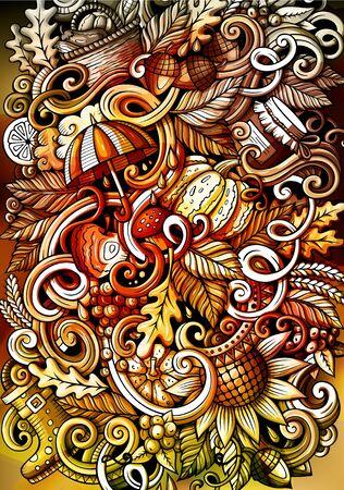 Cartoon watercolor hand drawn doodles Autumn background