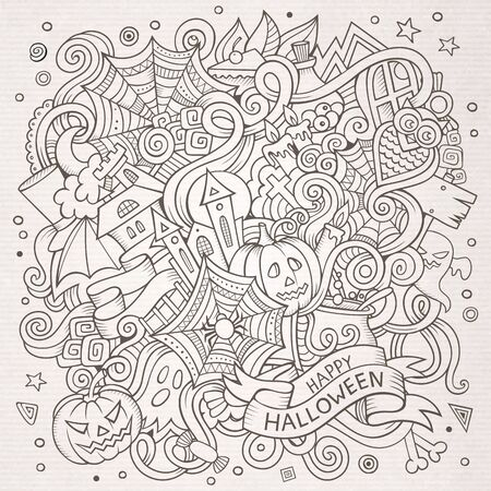 Cartoon cute doodles hand drawn Halloween illustration