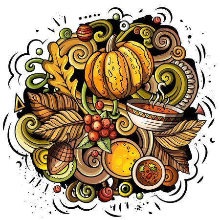 Cartoon cute doodles hand drawn Autumn illustration 版權商用圖片