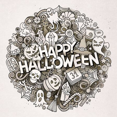 Cartoon cute doodles hand drawn Halloween inscription. Line art illustration with holiday theme items. Detailed, with lots of objects background. Funny artwork Stockfoto