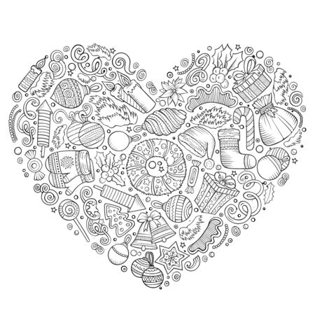 Line art hand drawn set of New Year cartoon doodle objects, symbols and items. Heart form composition