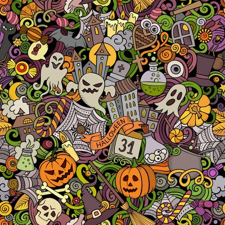 Cartoon cute doodles hand drawn Halloween seamless pattern 写真素材