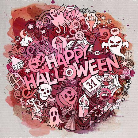 Cartoon watercolor cute doodles Halloween inscription background
