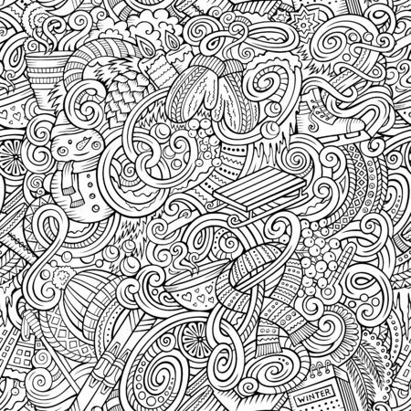 Cartoon doodles Winter season seamless pattern. Endless illustration.