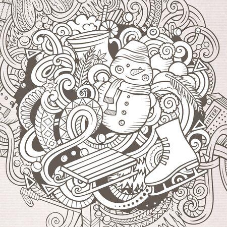 Cartoon doodles Winter illustration. Contour cold season funny picture