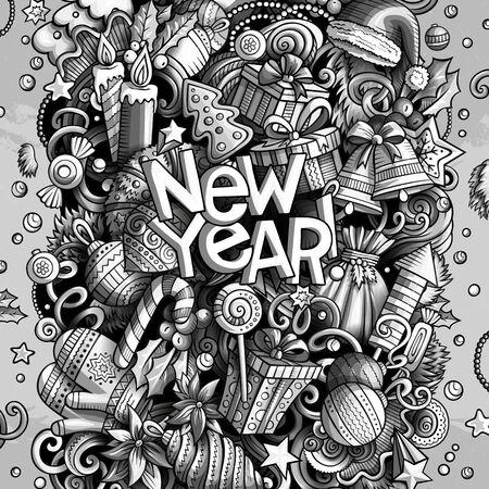 Cartoon doodles New Year illustration. Christmas funny artwork