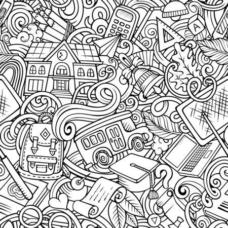Cartoon cute doodles hand drawn School seamless pattern