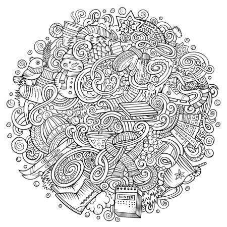 Cartoon doodles Winter illustration. Contour cold season funny round picture