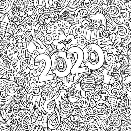 2020 handgezeichnete Kritzeleien Konturlinie Illustration. Neujahrsplakat. Urlaub Cartoon-Banner-Design-Element. Weihnachten Malbuch Bleistiftzeichnung. Isolierter Vektor