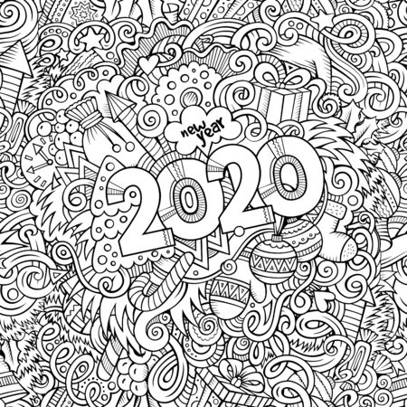 2020 hand drawn doodles contour line illustration. New Year poster. Holidays cartoon banner design element. Christmas coloring book pencil drawing. Isolated vector