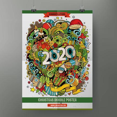 Modello di poster anno 2020 scarabocchi disegnati a mano colorati del fumetto. Molto dettagliato, con molte illustrazioni di oggetti. Grafica vettoriale divertente. Progettazione dell'identità aziendale