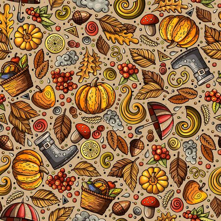 Cartoon cute hand drawn Autumn seamless pattern