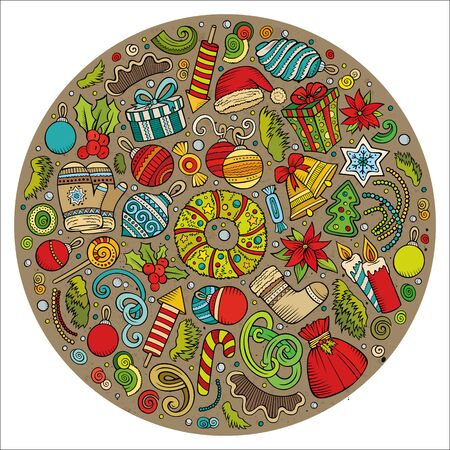 Set of New Year cartoon doodle objects. Round composition Zdjęcie Seryjne