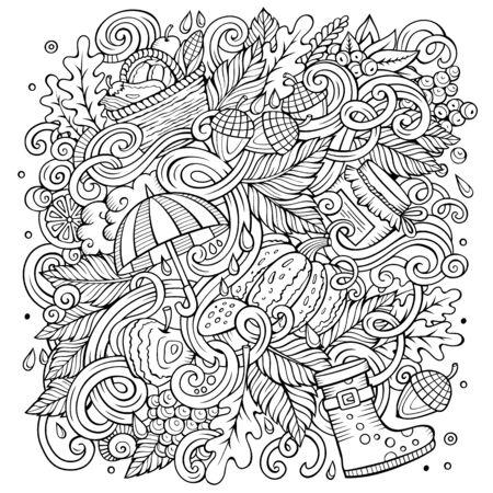 Cartoon cute doodles hand drawn autumn illustration