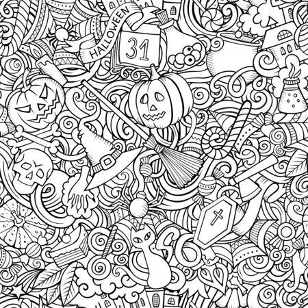 Cartoon cute doodles hand drawn Halloween seamless pattern.