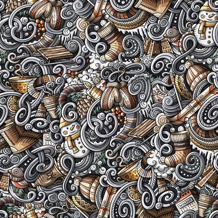 Cartoon doodles Winter season seamless pattern. Endless illustration. Reklamní fotografie - 130120638