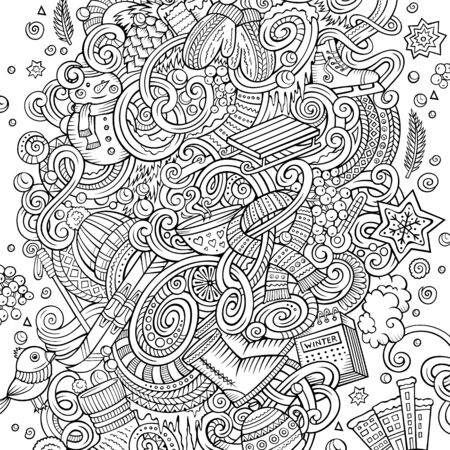 Cartoon doodles Winter illustration. Contour drawing cold season funny picture Reklamní fotografie - 130120639