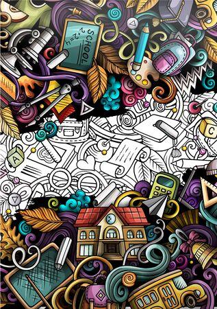 Cartoon cute colorful hand drawn doodles School background. Education vector banner design. Banco de Imagens - 133040418
