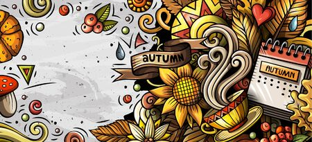 Cartoon cute colorful hand drawn doodles Fall season banner Stok Fotoğraf - 130120798