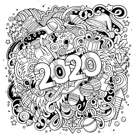 2020 doodles illustration. New Year objects and elements poster design Illustration