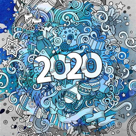 Cartoon vector cute doodles hand drawn 2020 year illustration.