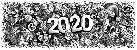 2020 hand drawn doodles illustration. New Year objects and elements design Foto de archivo - 129396387